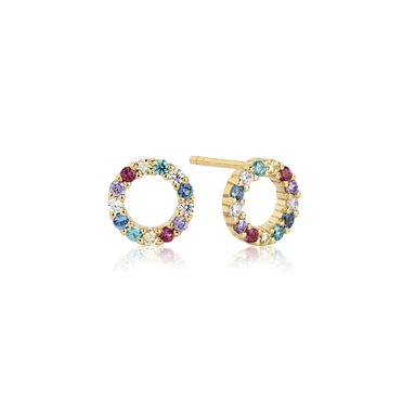 earrings northampton gold multi-coloured circle